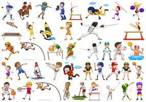 Conjunto de caractere de atletas de esporte vetor