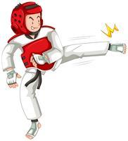 Um, taekwondo, atleta, personagem vetor