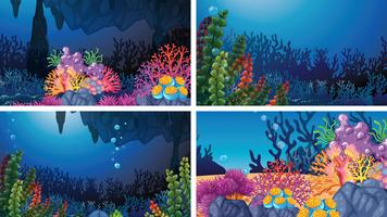 Conjunto de cenas de coral subaquáticas