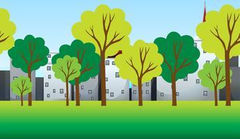 Cena com árvores e edifícios vetor