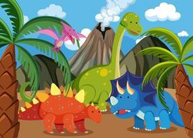 Muitos dinossauros na natureza vetor