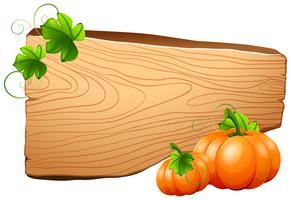 Placa de madeira e abóboras na videira vetor