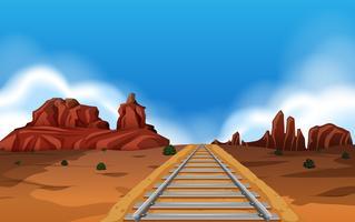 Trilha de trem no fundo do oeste selvagem vetor