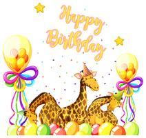 Girafa com tema de aniversário vetor