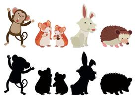 Conjunto de varios animais vetor