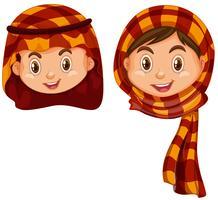 Menino menina, em, árabe, traje