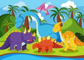 Dinossauro plano na natureza vetor