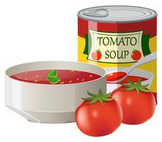 Tomates frescos e sopa de tomate em lata vetor