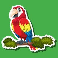 Personagem de adesivo de papagaio bonito vetor