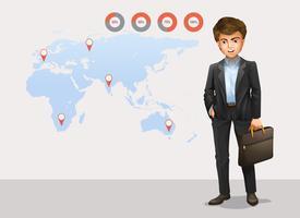 Infográfico com mapa-múndi e empresário vetor