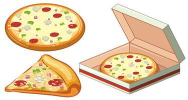 Pizza em caixa de papel vetor
