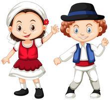 Roménia menina e menino em roupas tradicionais vetor