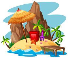 Cena com rock e praia na ilha vetor