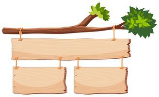 Banner de madeira no ramo de árvore vetor
