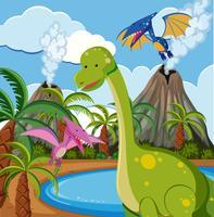 Dinossauro na natureza vetor