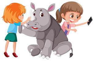 Duas meninas, com, cute, rinoceronte vetor