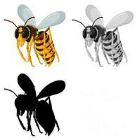 Conjunto de abelha no fundo branco vetor