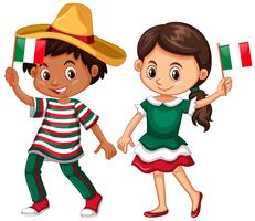 Feliz, menino menina, segurando bandeira, de, méxico vetor