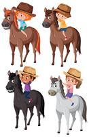 Jogo, de, crianças, montando, cavalo vetor
