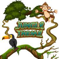 Animais no tema da selva