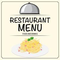 Modelo de menu de restaurante com macarrão na chapa vetor