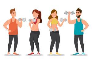 Feliz, homem mulher, vestido, um, sportswear, e, fazendo, exercícios, com, dumbbells