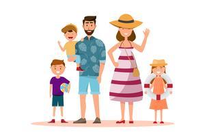 Família feliz. Pai, mãe, filho e filha, juntamente com a viagem de verão