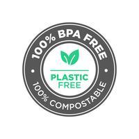 100% livre de BPA. Livre de plástico. Ícone 100% compostável. vetor