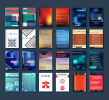 Na moda vários design simples abrange brochura ou folheto modelo. Conjunto de modelos de design minimalista de brochura de panfleto vetor