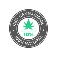 Ícone do óleo do cannabidiol de CBD de 10 por cento. 100% natural. vetor