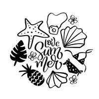 Amo o texto de rotulação de caligrafia verão com elementos de viagem mão desenhada. melancia, folhas, abacaxi e outros. Ilustração vetorial