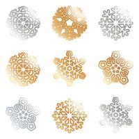 Flocos de Neve em Ouro Prata vetor