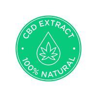 Ícone de extração de CBD. 100% natural. vetor