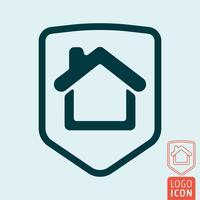 Casa segura, ícone vetor