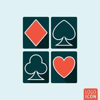 Ícone de cartas de jogar isolado vetor