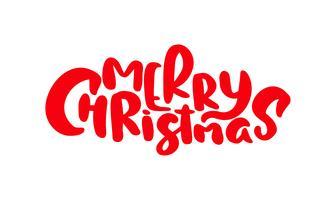 Molde do cartão do projeto de rotulação caligráfico do texto do vetor do Feliz Natal. Tipografia criativa para o cartaz de presente de saudação de feriado. Faixa de estilo de fonte