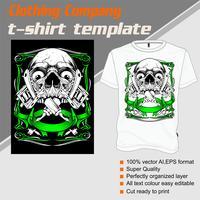 Modelo de t-shirt, totalmente editável com vetor de máquina de tatuagem de caveira