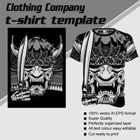 Modelo de t-shirt, totalmente editável com crânio manuseio de vetor de espada