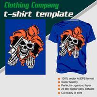 Modelo de t-shirt, totalmente editável com vetor de caveira e arma