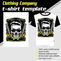 Modelo de t-shirt, totalmente editável com vetor de loja de barbeiro crânio