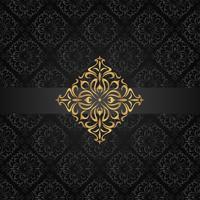 Resumo padrão sem emenda escuro com elemento dourado vetor