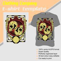 Modelo de t-shirt, totalmente editável com vetor de crânio duplo