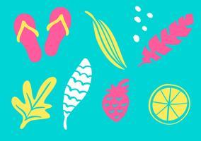 Coleção tropical para as folhas exóticas do partido da praia do verão, o abacaxi, as palmas das mãos e as frutas. Vector design elementos isolados no fundo branco
