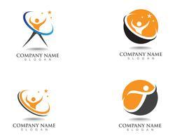 Sinal de logotipo de caráter humano, logotipo de cuidados de saúde. Sinal do logotipo da natureza. sinal de logotipo de pessoas de sucesso vetor
