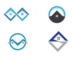 logotipo de edifícios de casa e modelo de ícones de símbolos vetor