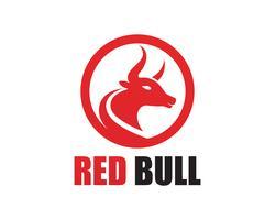Ícones de modelo de logotipo e símbolos de chifre de touro vermelho