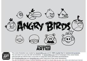 Esboço livre do vetor pássaros com raiva