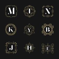 Conjunto de insígnias de emblema de monograma. Vetor de ornamento de logotipo caligráfico