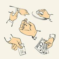 Coleção de dedo de mão - vetor de ilustração de estilo retro