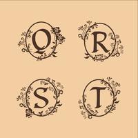 decoração letra S, T, R, Q modelo de conceito de design de logotipo